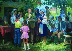 Віктор Пирогов. Михайло Стельмах серед виборців. 1988 р., полотно, олія, 115х157