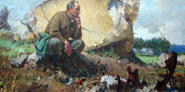 """Віктор Пирогов. """"На руїнах Вервольфу"""", 1965, полотно, олія, 123,5х266"""